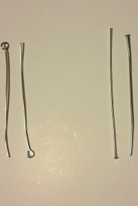Eye pins (left) and eye pins (right): available in several sizes, these are great to create earrings and can also be used to hold pendants.