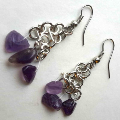 Looped wire earrings with amethyst stones (4)